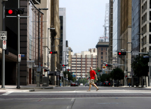 A man walks down an empty street at Houston's downtown as Hurricane Ike approaches at the gulf coast in Texas