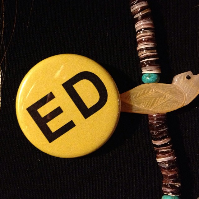 Seen at a Houston party last night: buttons in support of Ed Wilson