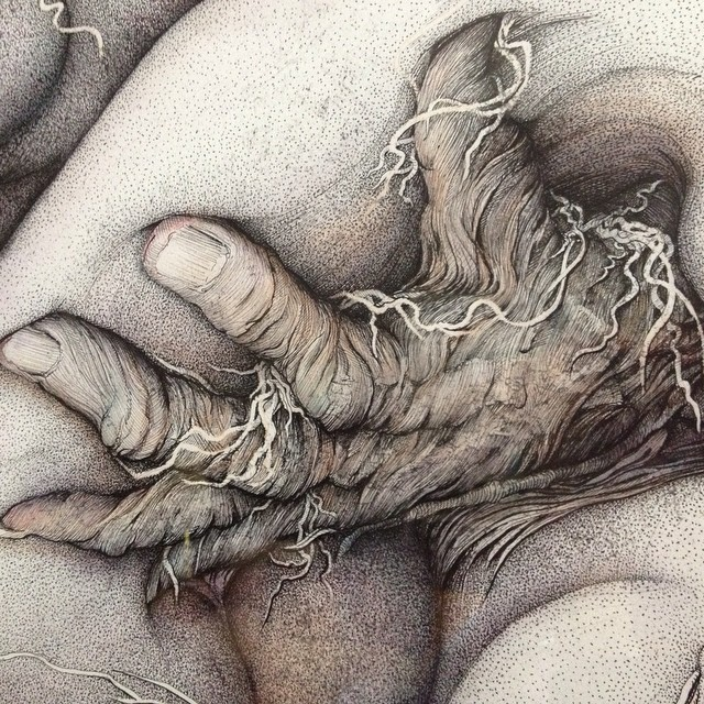Detail of 1990s drawing by Dixie Friend Gay