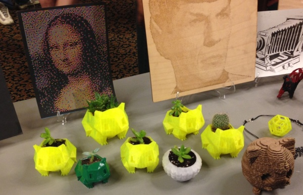 Pikachu planters with Mona Lisa and the eternal Mr. Spock