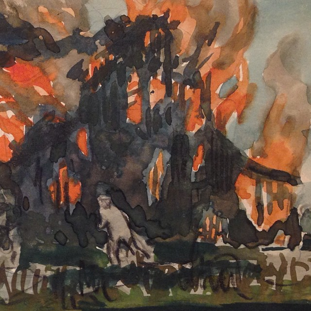 Burning church in WWI @printingmuseum Houston