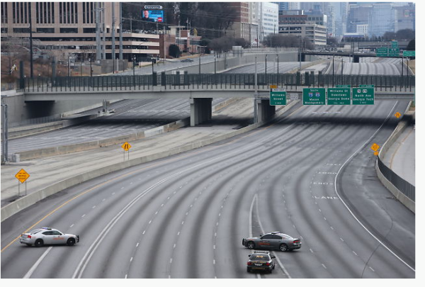 Desert highway in downtown Atlanta because of school art project. Photo: City of Atlanta Police Department Facebook Page.