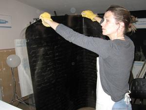Carol in her solar-powered studio
