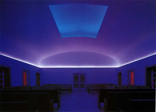 Image: James Turrell, Skyspace at Live Oak Friends Meeting House, Houston, Texas, 2000. Retracted skyspace shows light changing as sun sets. Photo by Joe Aker. Courtesy the artist and Live Oak Friends.