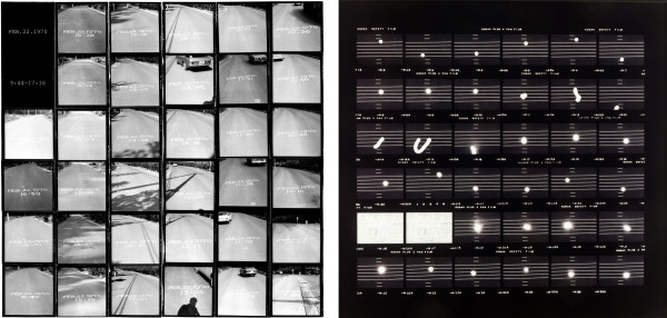 L: Hitoshi Nomura, Time on a Curved Line, 1970, 34 gelatin silver prints, the National Museum of Modern Art, Tokyo. © Hitoshi Nomura. R : Hitoshi Nomura, 'moon' score, December 19, 1975, 1975, gelatin silver print, printed c. 1995, The Museum of Fine Arts, Houston, Museum purchase funded by the Caroline Wiess Law Accessions Endowment Fund.