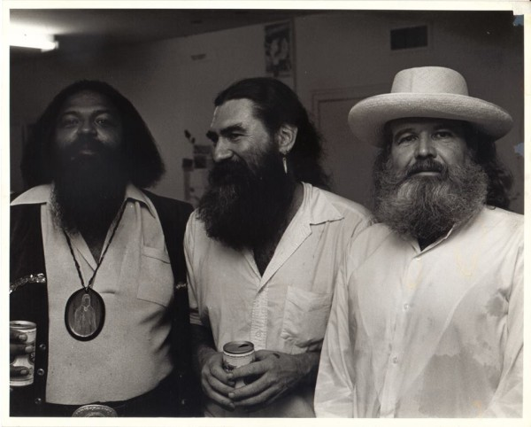 Bert L. Long, Jr, James Surls, and Bob Bilyeau Camblin at Lawndale Annex, c. 1980. Photo by Frank Martin.