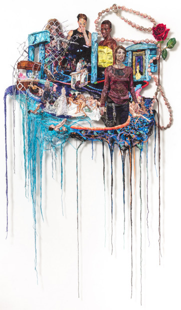 """Sophia Narrett, """"Something Went Wrong"""" (2014–15), embroidery thread and fabric, 59 x 35 in (image courtesy Arts+Leisure via Hyperallergic)"""