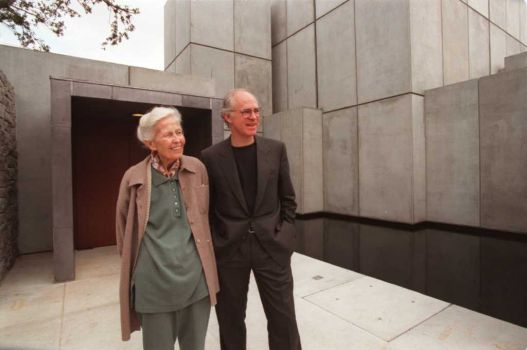 Dominique de Menil with son Francois, architect of Houston's Byzantine Fresco Chapel, completed in 1997. (Photo By Betty Tichich via Houston Chronicle)