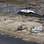 Marine One, with President Bush aboard, takes an aerial tour of the damage from Hurricane Ike near Galveston, Texas, Tuesday, Sept. 16, 2008. (AP Photo/Pablo Martinez Monsivais)