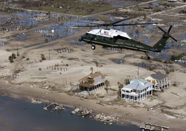 Marine One, with President Bush aboard, takes an aerial tour of the damage from Hurricane Ike near Galveston, Texas, Tuesday, Sept. 16, 2008. (AP Photo/Pablo Martinez Monsivais)