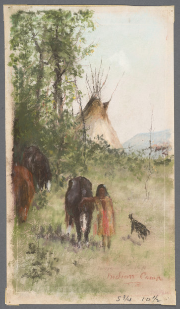 Indian Camp, circa 1883, pastel on paper, 11 13/16 x 6 11/16 inches. Image courtesy of the Harry Ransom Center