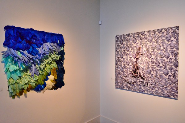 """Shawl II"" (l) and ""Corinthians – 3/7"" – a crowd favorite during the opening, according to Coates."