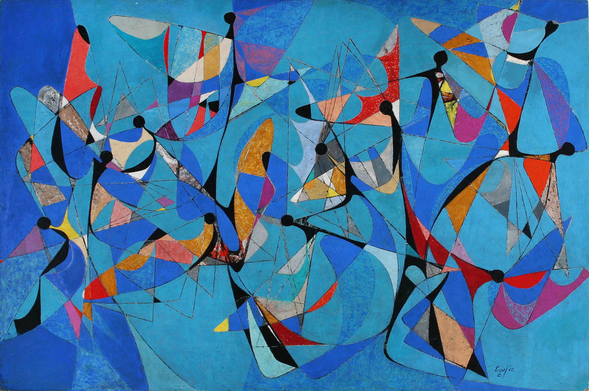 Icarian Flight, 1952, oil on Masonite