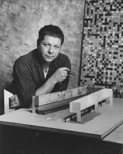 Seymour Fogel with American National Bank, Austin, TX mural model, 1954