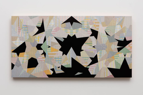 Rendition No. 2, (Topkapi Scroll p344), 2015. inlaid milage charts, sumi ink on panel
