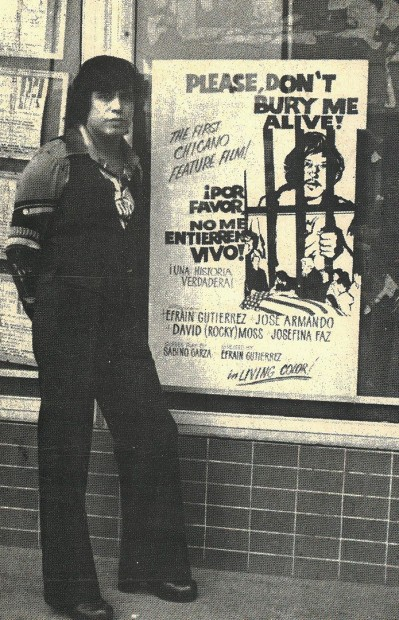 Efraín Gutiérrez in front a poster for his 1976 movie.