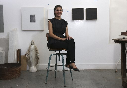 Corral in her studio. Photo via San Antonio Express-News.