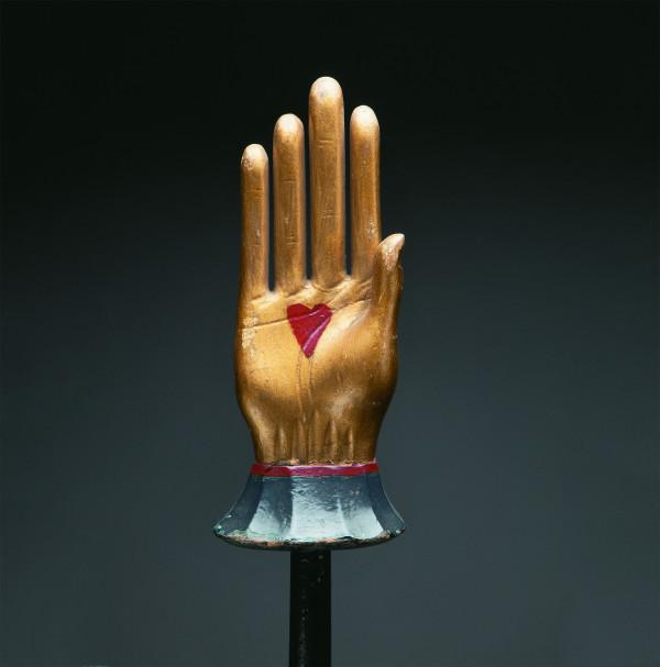 Odd Fellows heart-in-hand staff, ca. 1890s
