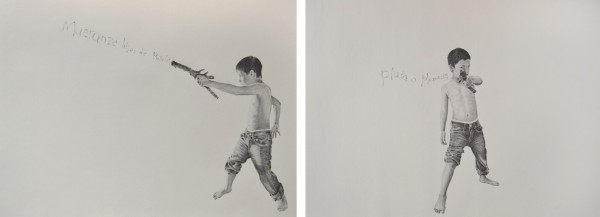 Mueranze Hijos de Puta (Die Sons of Bitches), 2013, graphite on paper, 18 x 24 in; Plata O Plomo (Silver or Lead)?, 2013, graphite on paper, 18 x 24 in.