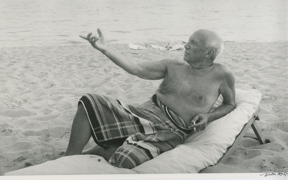 Lucien Clergue, Picasso on the beach, Cannes (1965). Gelatin silver print 17 3/4 in. x 11 in. Signed in pencil on verso. (Inv# 64771-C) Photo: Courtesy of the artist and Throckmorton Fine Art, via artnet Magazine.