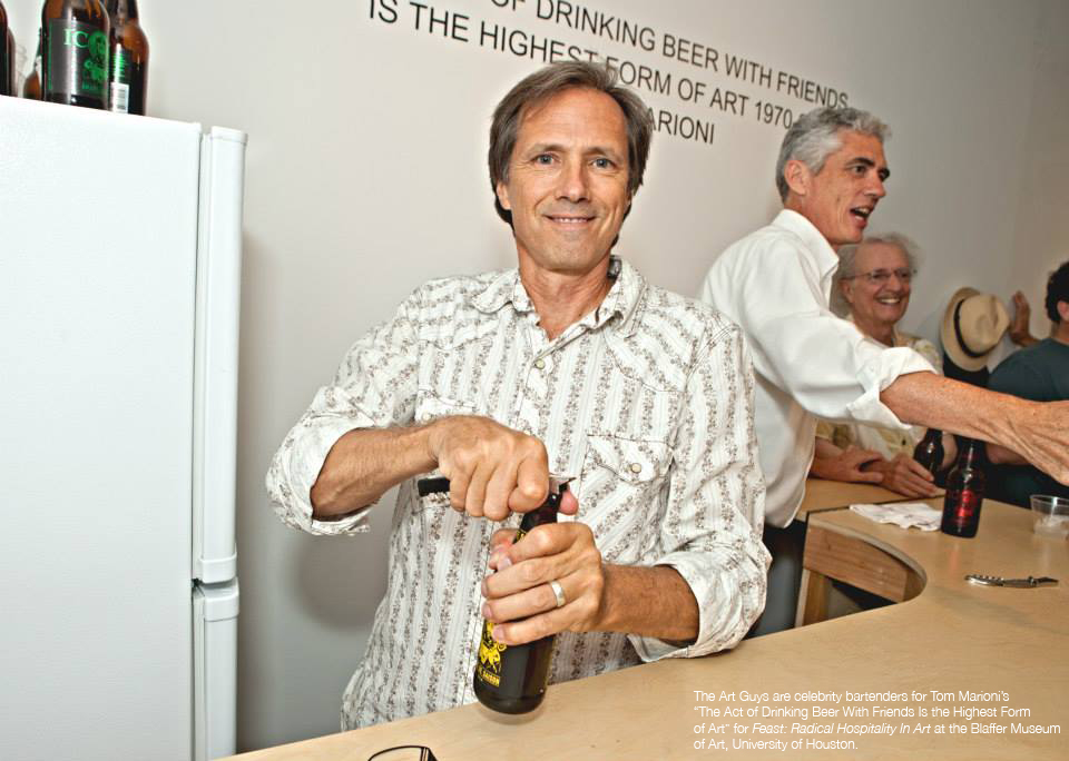 The Art Guys serving beer at the Blaffer Art Museum. Image via artguys.com.