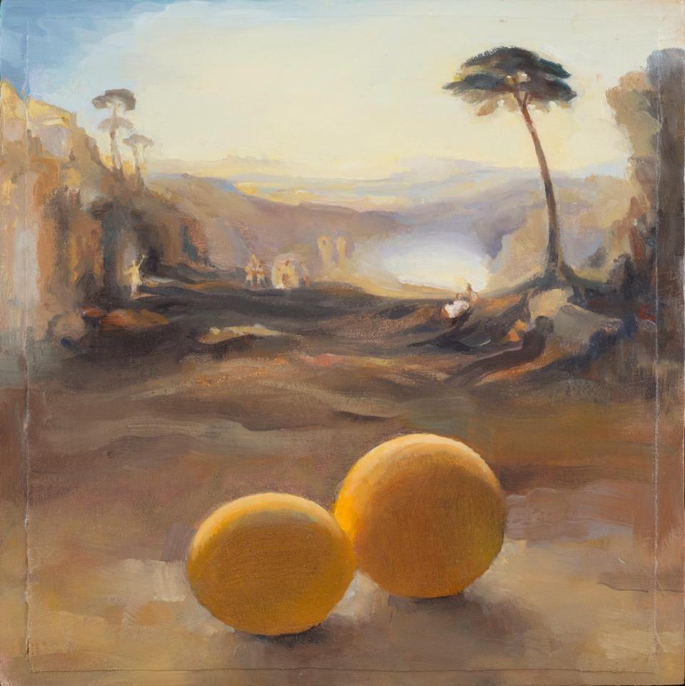Carol Ivey, Romantic Landscape: The Golden Bough after Turner with Lemons, oil on linen panel.