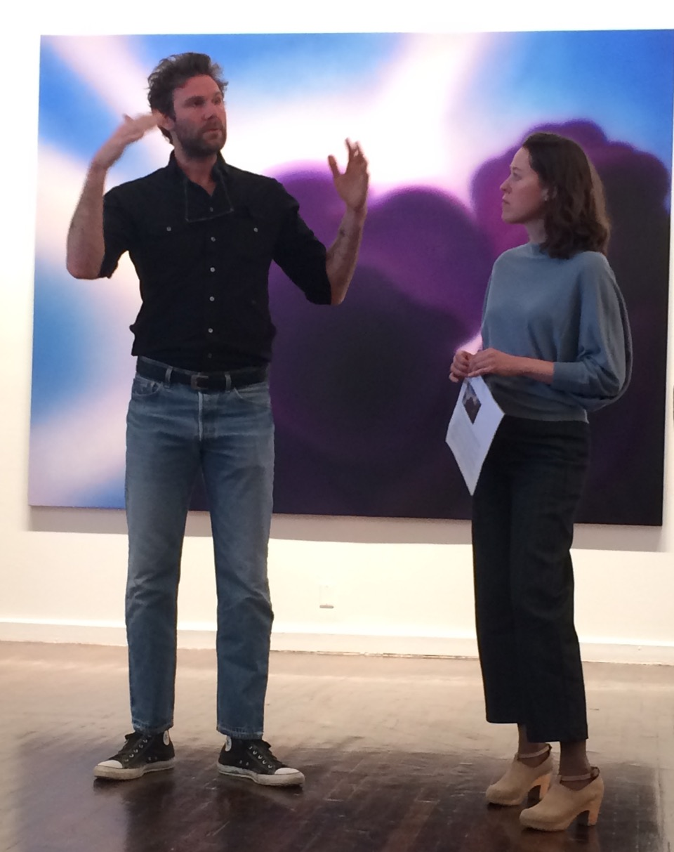 Dan Colen with Susan Sutton, director of Ballroom Marfa, in front of 'Goodnight My Love'