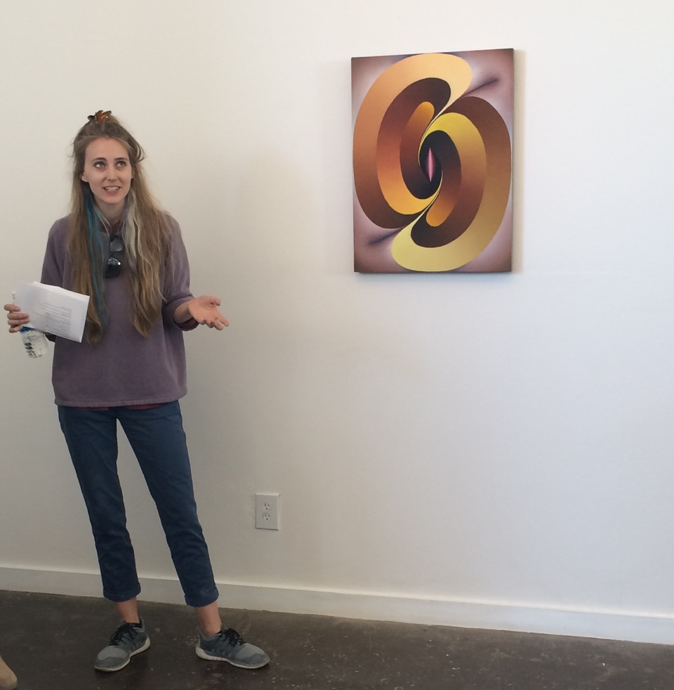 Loie Hollowell, in front of 'Linked Lingams in Yellow and Purple'