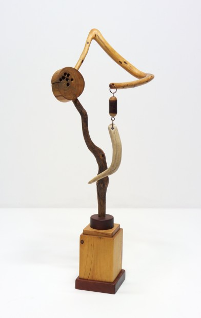 "The Calculated Risk of Incongruity (2008-14), wood, antler, metal, beads, 37"" h. x 15"" w. x 14½"" d."