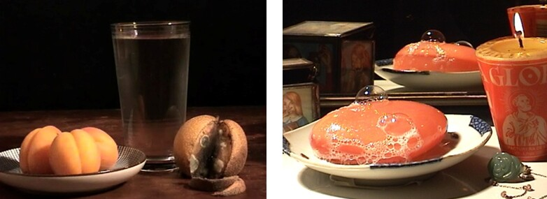 Still Life with Fruit and Zhuang Zi, 2005, digital video, 22 min. 14 sec. Soap with Votive, 2006-07, digital video, 4 min., 32 sec.