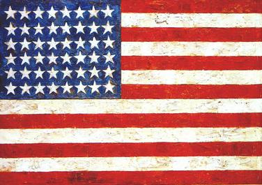 Jasper Johns, Flag. Encaustic, oil and collage on fabric mounted on plywood, 1954–55