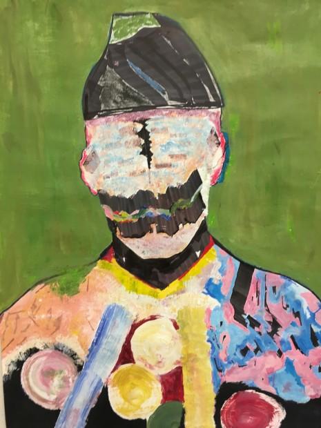 "Usama Khalid, Quaid-i-azam, oil paint, acrylic paint, charcoal, and copic marker, 24"" x 18"""
