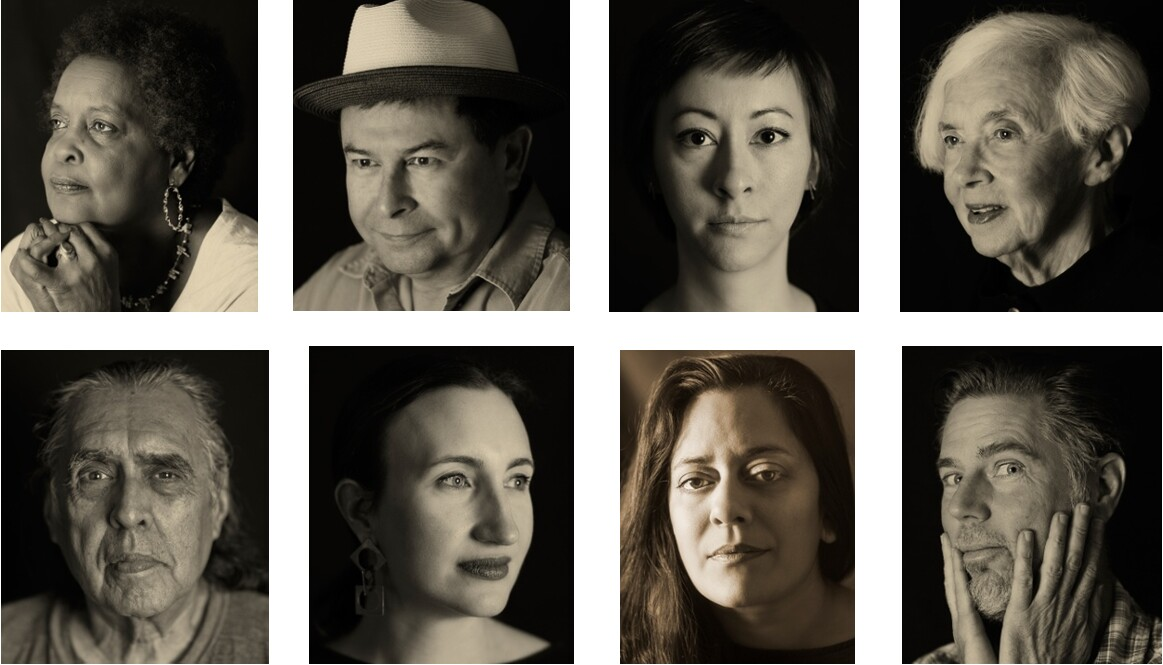 San Antonio Faces of Art, 2016, digital prints, 20 x 16 in. each Top, l to r: Bernice Appelin-Williams, Renaissance and visual artist; Rolando Briseño, Cultural adjuster, Public artist; Jennifer Ling Datchuk, artist; Marilyn Lanfear, artist; Bottom, l to r: Ramon Vasquez y Sanchez, Cultural artist; Mary Heathcott, Executive Director, Blue Star Contemporary Art Museum; Anjali Gupta, Director of Sala Diaz gallery; Lloyd Walsh, Artist, Educator