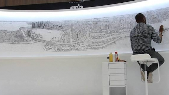 Autistic artist Stephen Wiltshire, Elevate Houston: The Big Picture. April, 2016.