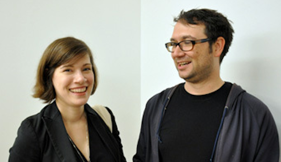 Lisa Cooley with artist Scott Calhoun (Image via Artforum)