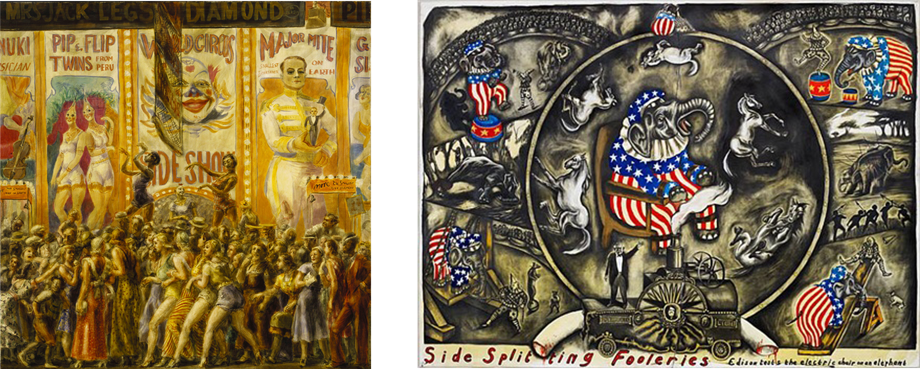L: Reginald Marsh, Pip and Flip, 1932. Tempera on paper mounted on canvas, 48 ¼ x 48 ¼ in. Terra Foundation for American Art, Chicago. R: Sue Coe, Side Splitting Fooleries: Edison Tests the Electric Chair on an Elephant, 2007, graphite, gouache, and watercolor on board, 40 x 54 ½ in. The Galerie St. Etienne, New York