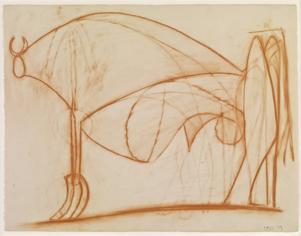 Pablo Picasso, The Bull (Le taureau), August 5, 1949. Red chalk on paper, 20 1/8 × 26 in. (51 × 66 cm). Private Collection. Courtesy Almine and Bernard Ruiz-Picasso Foundation for the Arts. © 2016 Estate of Pablo Picasso / Artists Rights Society (ARS), New York. Photo: FABA