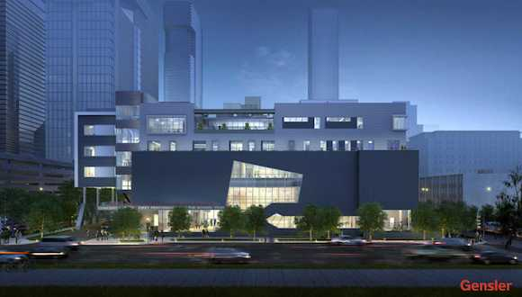 A rendering of the new High School for the Performing and Visual Arts being built downtown.