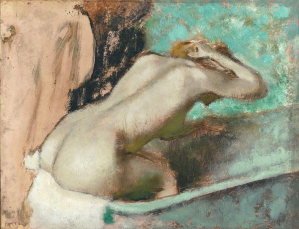 Woman Seated on the Edge of a Bath Sponging Her Neck, 1880-95