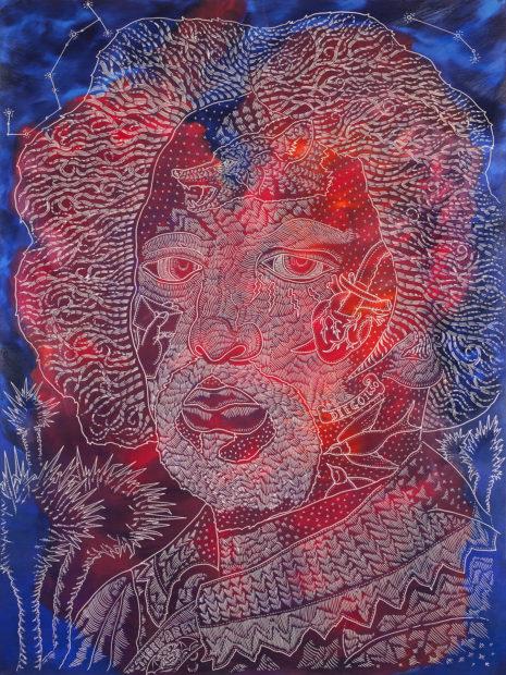 Ricky Armendariz, Juan de Pareja, 2016, oil on carved plywood, 48 x 37 in., Courtesy of Ruiz-Healy Art