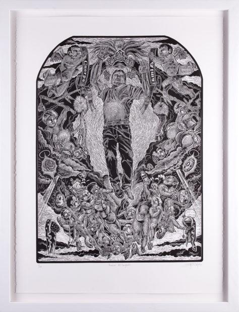 Juan de Dios Mora, Asunción del Emigrante (Ascension of the Immigrant), 2009, linocut, 24 x 18 1/8 in.