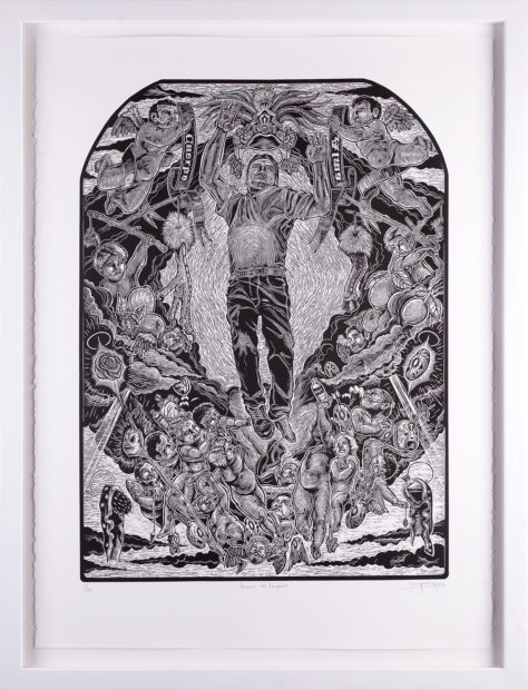 Juan de Dios Mora, Asunción del Emigrante (Ascension of the Immigrant), 2009, linocut, 24 x 18 1/8 in.