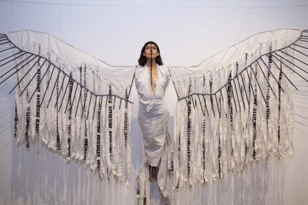 Daniela Riojas, Cuauhtli (Eagle), 2014, performance with mixed-media sculpture