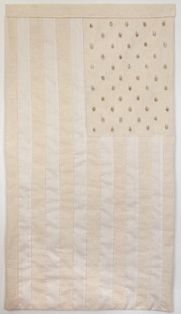 Jenelle Esparza, Meczla (It Mixes), 2016, raw cotton fabric, cotton thread, cotton seeds, 32 x 18 in.