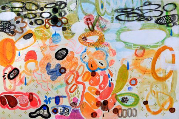 Gerardo Arellano, Ciudad de Lluvia (City of Rain), 2011, mixed media on canvas, 23 3/4 x 35 3/4 in., photo: Jenelle Esparza