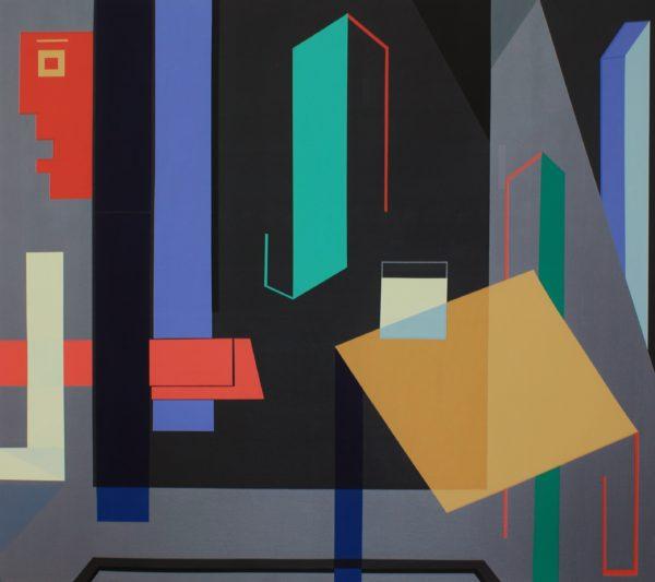 Jorge Puron, Casa Matriz #6: El Sediento (Matrix House #6: The Thirsty One), 2016, enamel on canvas, 48 x 54 in.