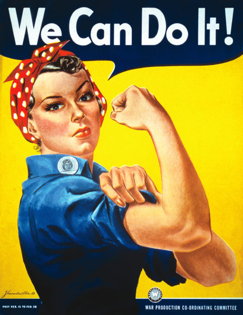 Vintage image of Rosie the Riveter by J. Howard Miller. Courtesy National Museum of American History, Smithsonian Institution