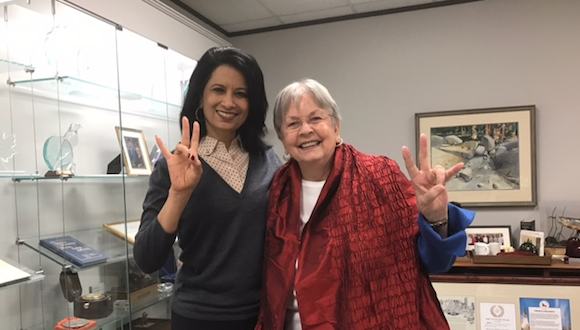 UH President Renu Khator and Kathrine G. McGovern. Image via University of Houston News