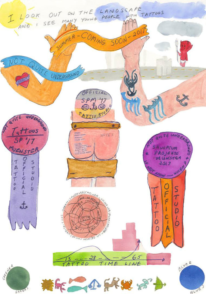 Michael Smith's drafts for tattoos for people aged 65 and up, part of Not Quite Under_Ground Tattoo Studio, his proposal for Münster Skulptur Projekte 2017. Image courtesy Münster Skulptur Projekte via artnet.