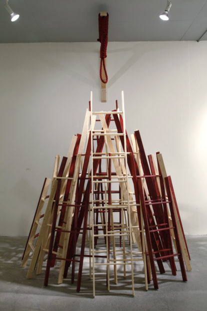 Blood Quantum Physics, 2012, wood, hemp, rope, dye, varnish, dimensions variable